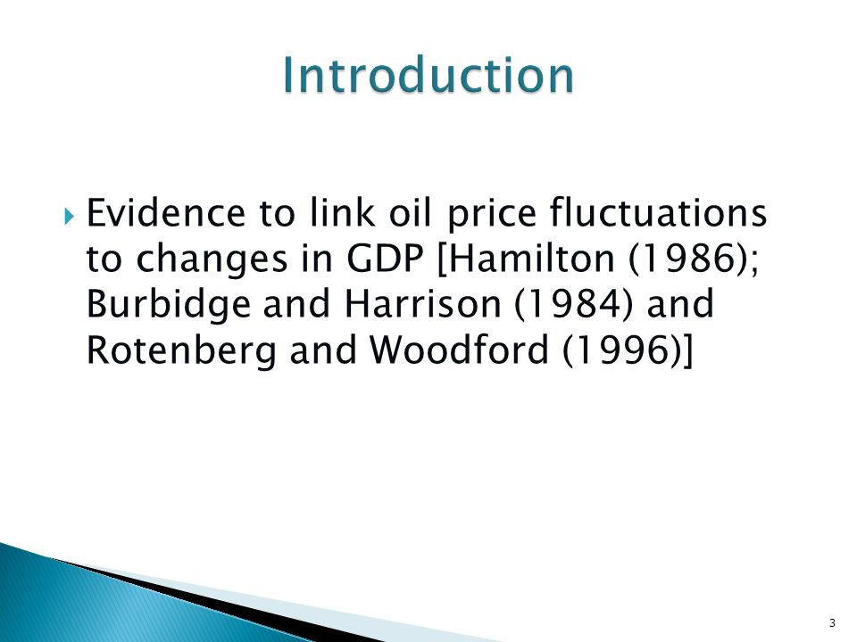 Evidence to link oil price fluctuations to changes in GDP [Hamilton (1986); Burbidge and Harrison (1984) and Rotenberg and Woodford (1996)] 3