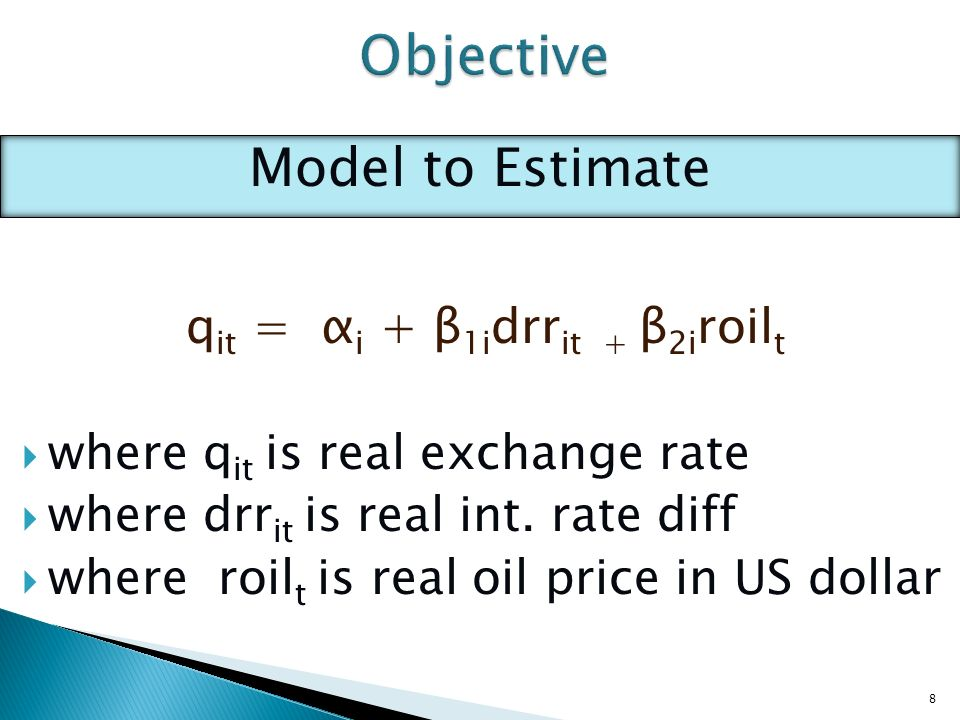 However, no evidence of negative oil price – exchange rate relationship is found for oil exporting countries: i.e oil price increase leads to exchange rate appreciation Perhaps the lack of evidence for oil exporting countries is due to selection of countries in the sample 19