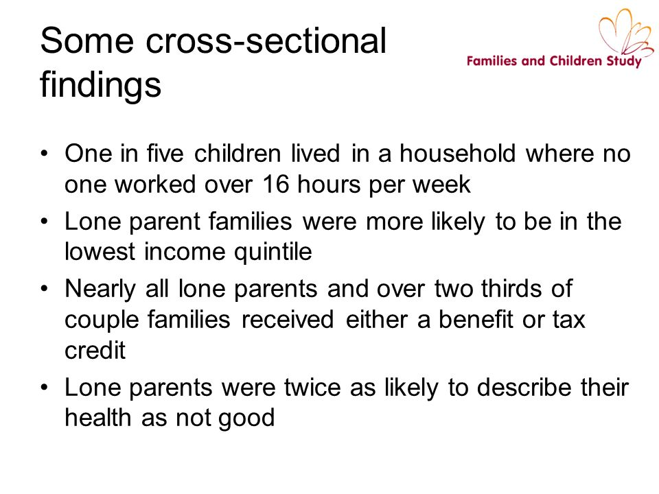 Some cross-sectional findings One in five children lived in a household where no one worked over 16 hours per week Lone parent families were more likely to be in the lowest income quintile Nearly all lone parents and over two thirds of couple families received either a benefit or tax credit Lone parents were twice as likely to describe their health as not good