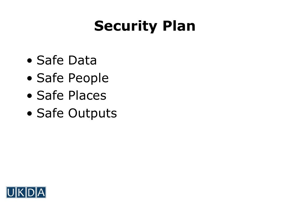 Security Plan Safe Data Safe People Safe Places Safe Outputs