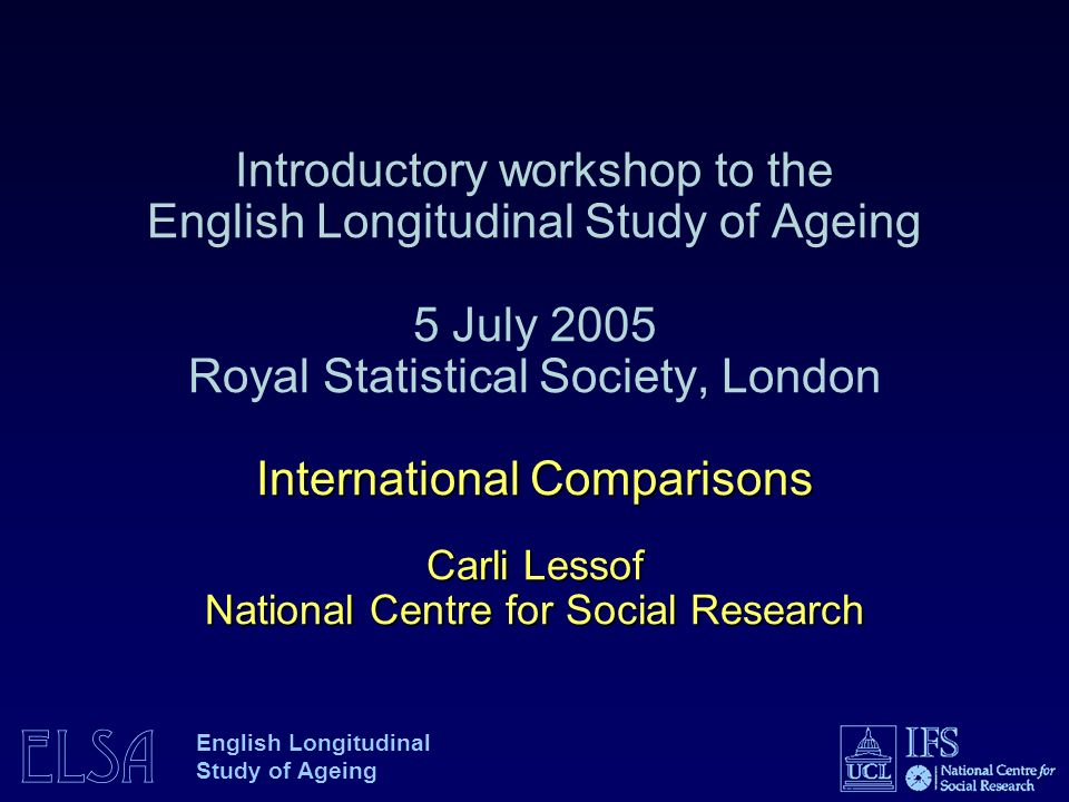 ELSA English Longitudinal Study of Ageing Health and Retirement Survey Revised Health and Retirement Study - steady state design Combines AHEAD (70+ 1993/4), HRS (1992) with additional cohorts 22,000 individuals 1998, 2002, 2004 Oversamples of Hispanics, Blacks, and Florida residents Baseline (and newly added sub-samples): in-home, face-to-face Follow-up by telephone every 2 years, proxy interviews after death Institute for Social Research, University of Michigan Principal Investigator Robert J.