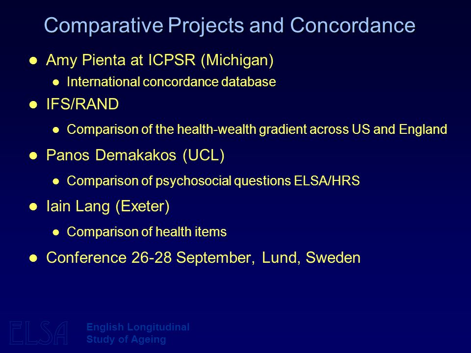 ELSA English Longitudinal Study of Ageing Comparative Projects and Concordance Amy Pienta at ICPSR (Michigan) International concordance database IFS/RAND Comparison of the health-wealth gradient across US and England Panos Demakakos (UCL) Comparison of psychosocial questions ELSA/HRS Iain Lang (Exeter) Comparison of health items Conference September, Lund, Sweden