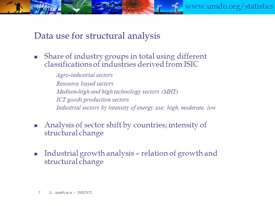 www.unido.org/statistics S. Upadhyaya - INDSTAT2 7 Data use for structural analysis Share of industry groups in total using different classifications