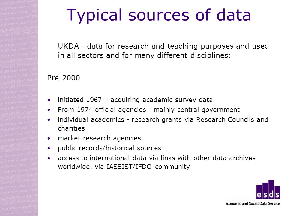 Typical sources of data UKDA - data for research and teaching purposes and used in all sectors and for many different disciplines: Pre-2000 initiated 1967 – acquiring academic survey data From 1974 official agencies - mainly central government individual academics - research grants via Research Councils and charities market research agencies public records/historical sources access to international data via links with other data archives worldwide, via IASSIST/IFDO community