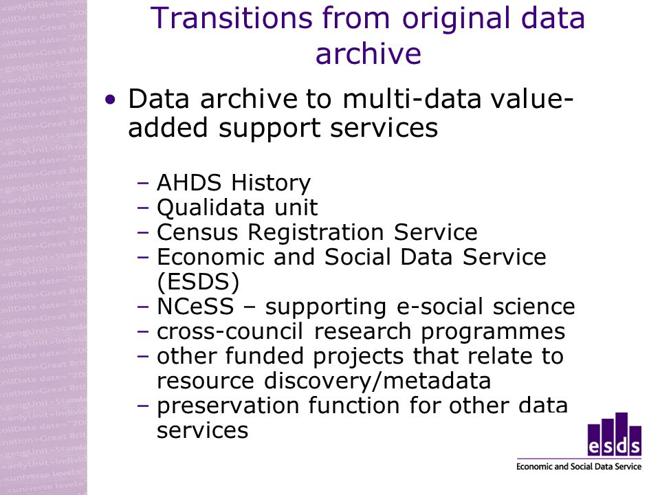 Transitions from original data archive Data archive to multi-data value- added support services –AHDS History –Qualidata unit –Census Registration Service –Economic and Social Data Service (ESDS) –NCeSS – supporting e-social science –cross-council research programmes –other funded projects that relate to resource discovery/metadata –preservation function for other data services