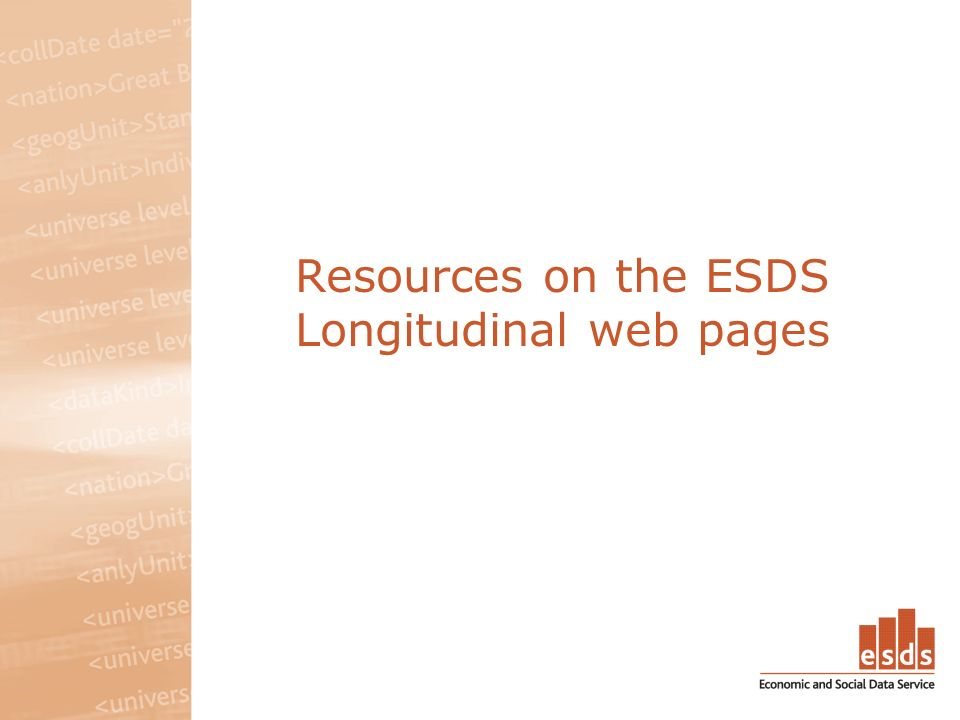 Resources on the ESDS Longitudinal web pages
