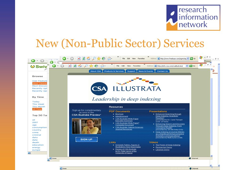 New (Non-Public Sector) Services