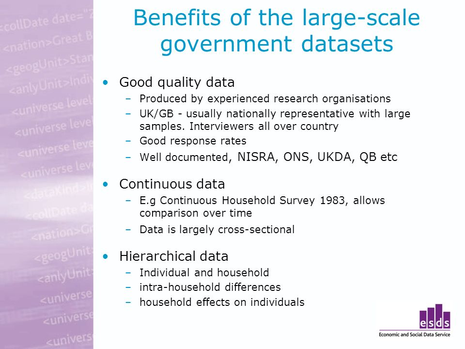Benefits of the large-scale government datasets Good quality data –Produced by experienced research organisations –UK/GB - usually nationally represen
