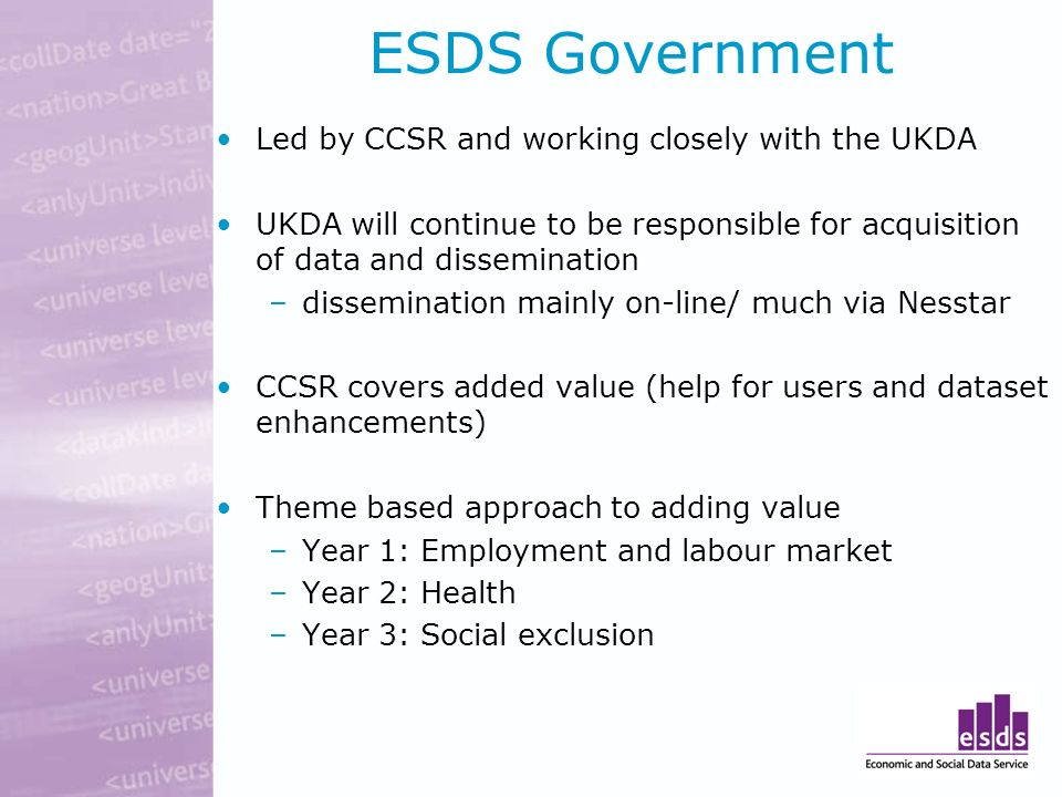 ESDS Government Led by CCSR and working closely with the UKDA UKDA will continue to be responsible for acquisition of data and dissemination –dissemin