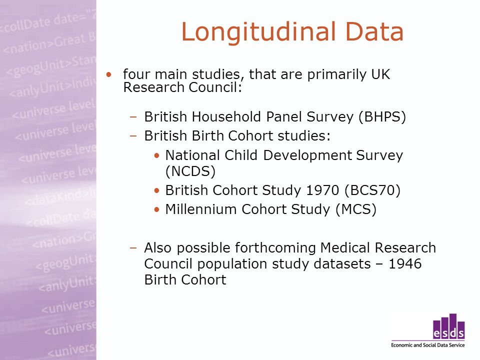 Longitudinal Data four main studies, that are primarily UK Research Council: –British Household Panel Survey (BHPS) –British Birth Cohort studies: Nat