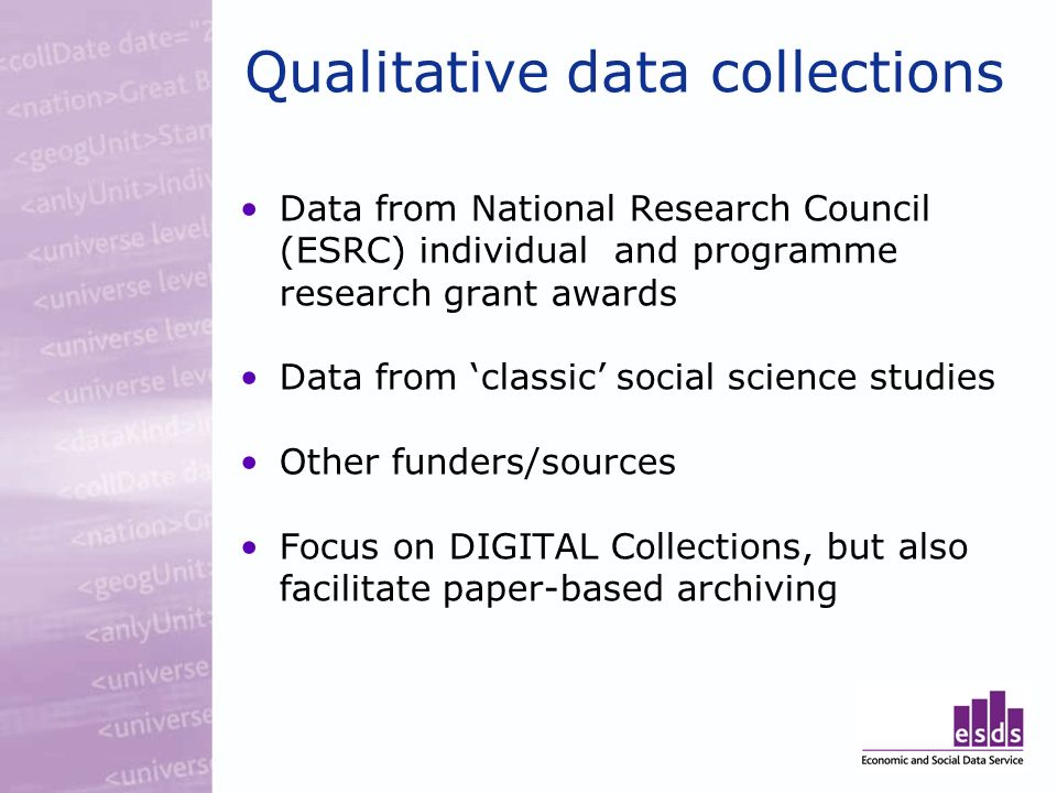 Qualitative data collections Data from National Research Council (ESRC) individual and programme research grant awards Data from classic social scienc