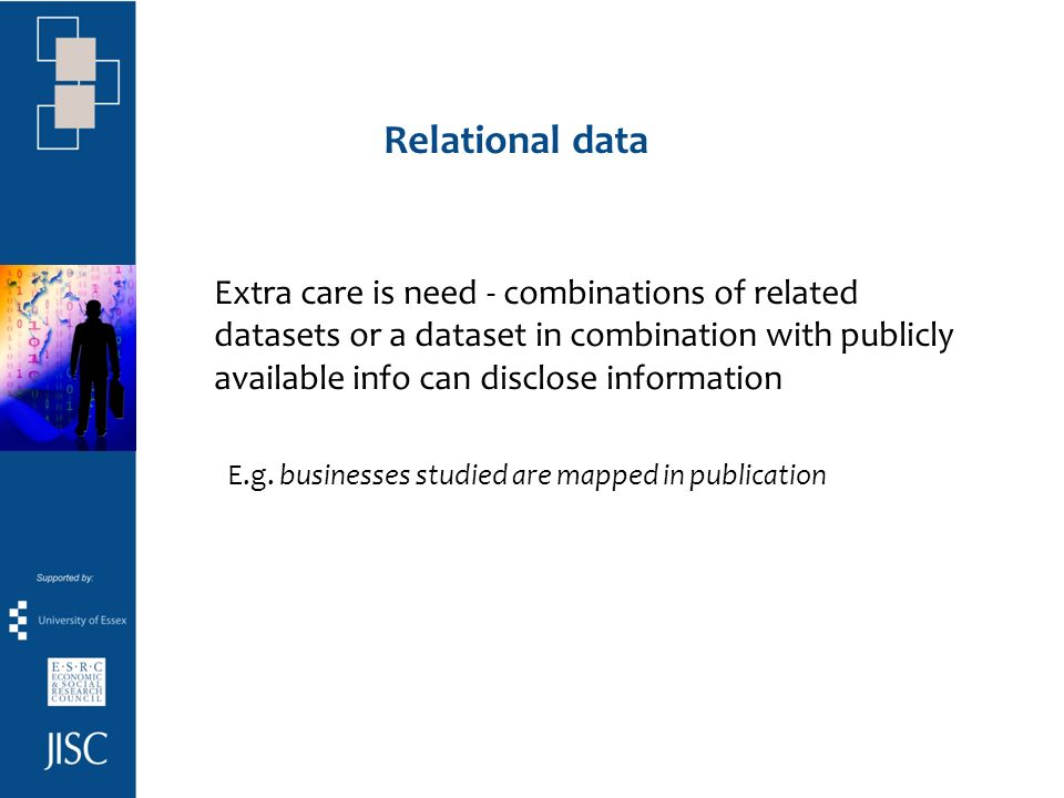 Relational data Extra care is need - combinations of related datasets or a dataset in combination with publicly available info can disclose information E.g.