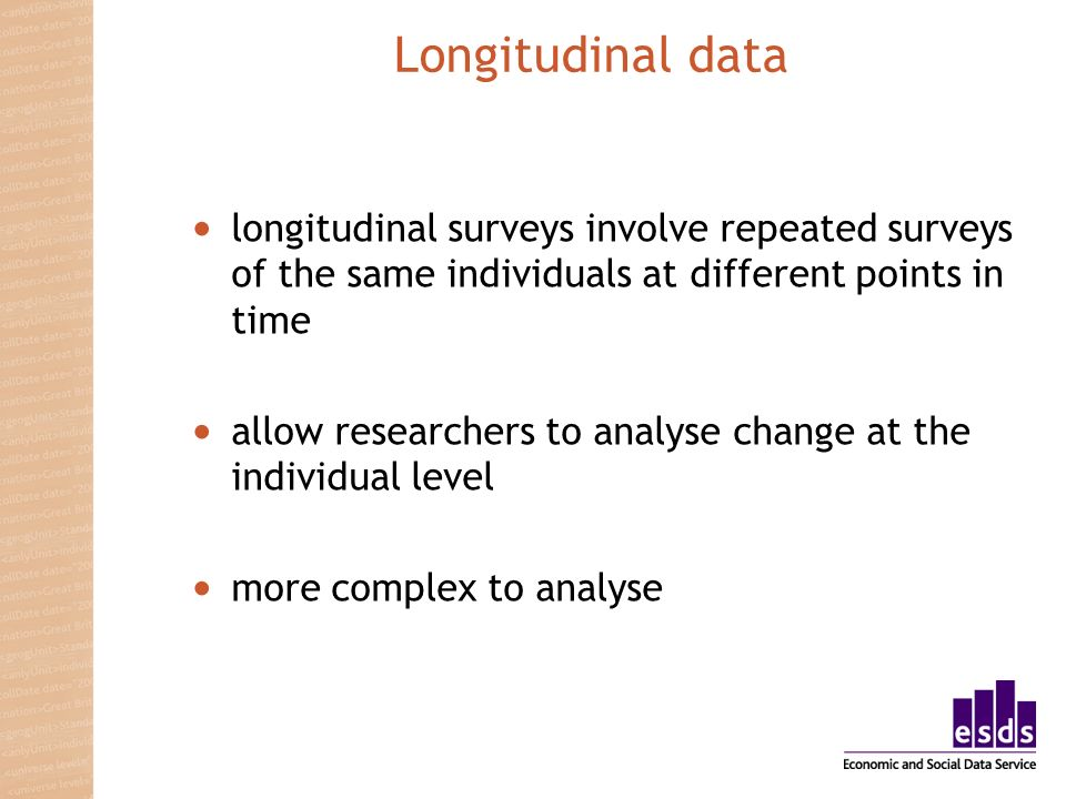Longitudinal data longitudinal surveys involve repeated surveys of the same individuals at different points in time allow researchers to analyse chang