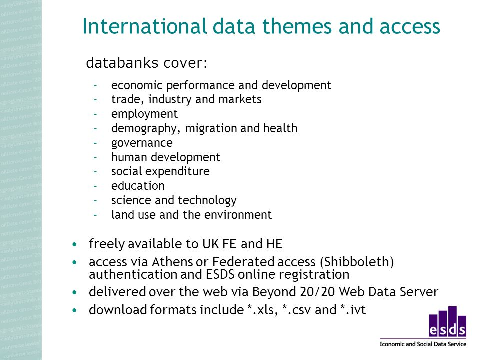 International data themes and access -economic performance and development -trade, industry and markets -employment -demography, migration and health -governance -human development -social expenditure -education -science and technology -land use and the environment databanks cover: freely available to UK FE and HE access via Athens or Federated access (Shibboleth) authentication and ESDS online registration delivered over the web via Beyond 20/20 Web Data Server download formats include *.xls, *.csv and *.ivt