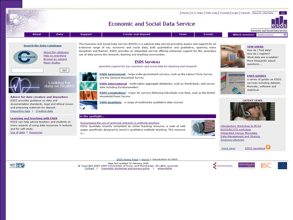 ESDS Qualidata Online Creation of digital multimedia resources that integrate existing primary and secondary materials.