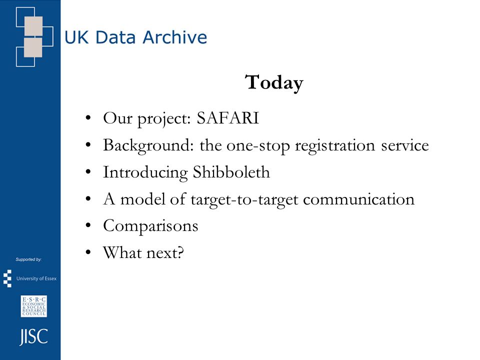 Today Our project: SAFARI Background: the one-stop registration service Introducing Shibboleth A model of target-to-target communication Comparisons W