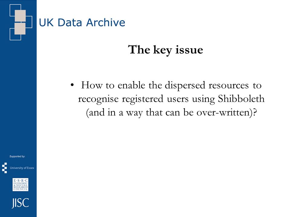 The key issue How to enable the dispersed resources to recognise registered users using Shibboleth (and in a way that can be over-written)?