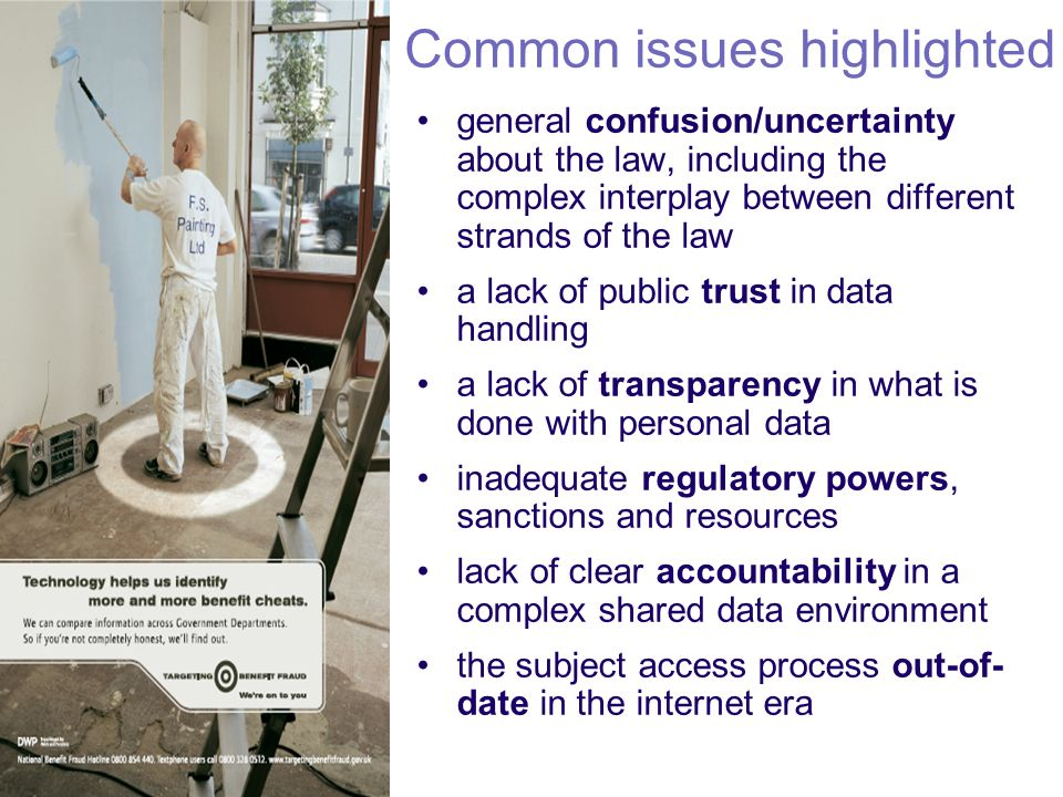 Common issues highlighted general confusion/uncertainty about the law, including the complex interplay between different strands of the law a lack of