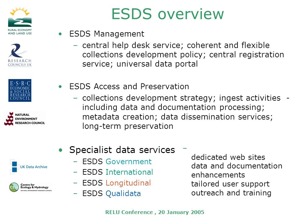 RELU Conference, 20 January 2005 ESDS overview ESDS Management –central help desk service; coherent and flexible collections development policy; central registration service; universal data portal ESDS Access and Preservation –collections development strategy; ingest activities - including data and documentation processing; metadata creation; data dissemination services; long-term preservation Specialist data services –ESDS Government –ESDS International –ESDS Longitudinal –ESDS Qualidata – dedicated web sites data and documentation enhancements tailored user support outreach and training