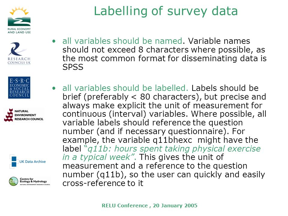 RELU Conference, 20 January 2005 Labelling of survey data all variables should be named.