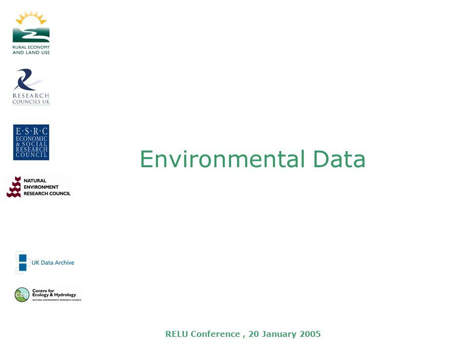 RELU Conference, 20 January 2005 Environmental Data
