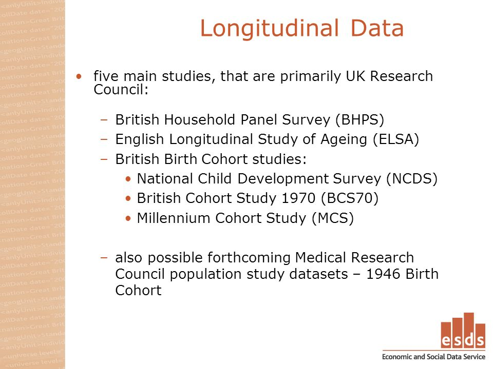 Longitudinal Data five main studies, that are primarily UK Research Council: –British Household Panel Survey (BHPS) –English Longitudinal Study of Ageing (ELSA) –British Birth Cohort studies: National Child Development Survey (NCDS) British Cohort Study 1970 (BCS70) Millennium Cohort Study (MCS) –also possible forthcoming Medical Research Council population study datasets – 1946 Birth Cohort