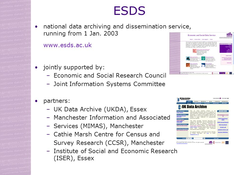 ESDS national data archiving and dissemination service, running from 1 Jan.