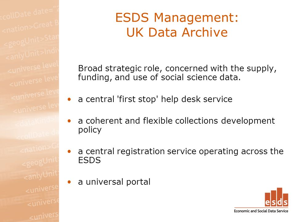 ESDS Management: UK Data Archive Broad strategic role, concerned with the supply, funding, and use of social science data.