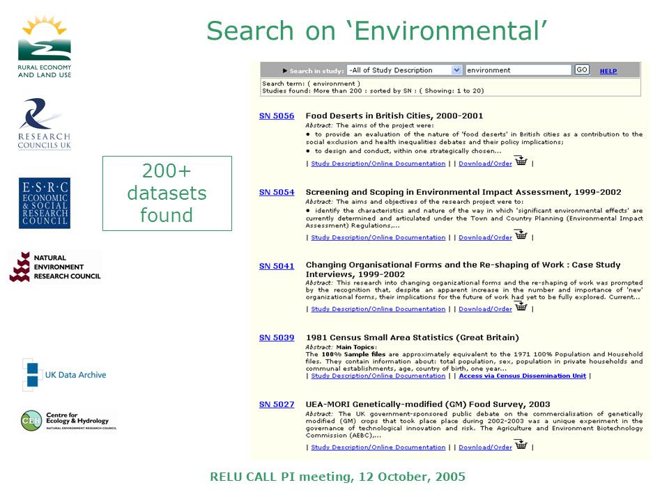 RELU CALL PI meeting, 12 October, 2005 Search on Environmental 200+ datasets found