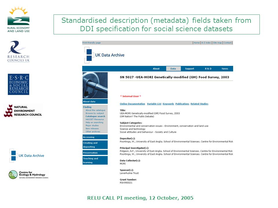 RELU CALL PI meeting, 12 October, 2005 Standardised description (metadata) fields taken from DDI specification for social science datasets