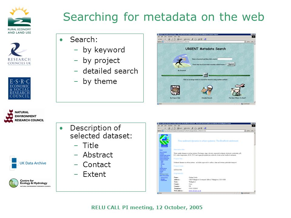 RELU CALL PI meeting, 12 October, 2005 Searching for metadata on the web Search: –by keyword –by project –detailed search –by theme Description of selected dataset: –Title –Abstract –Contact –Extent