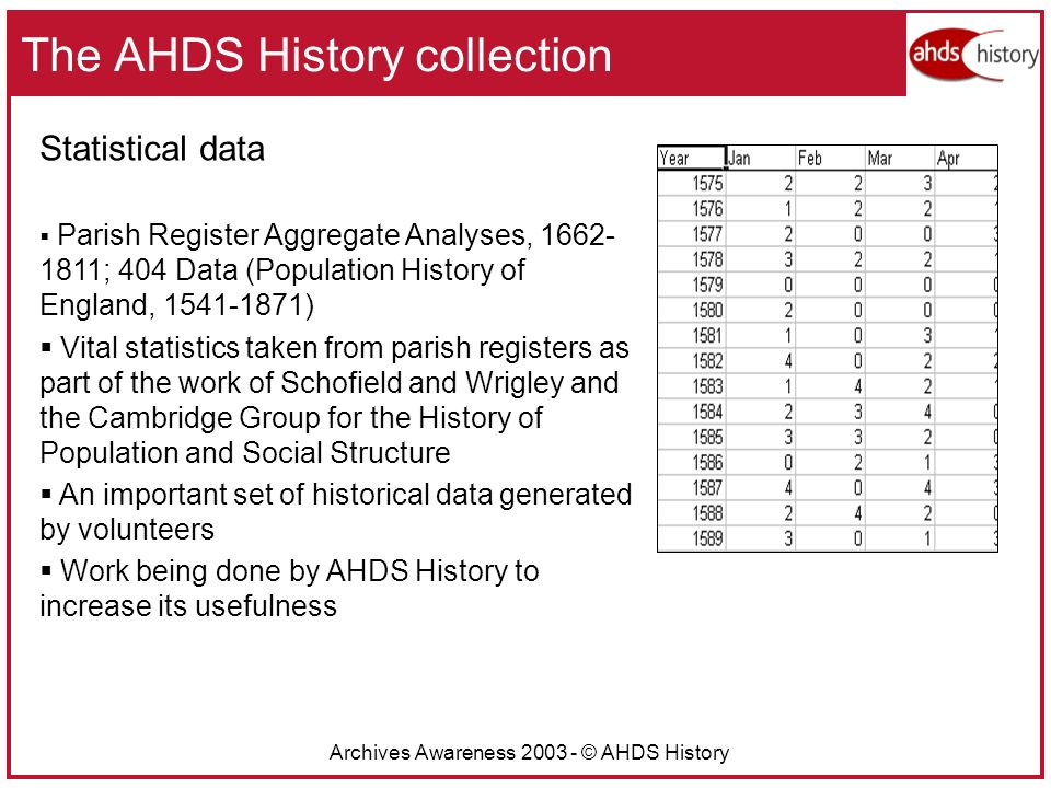 Archives Awareness 2003 - © AHDS History The AHDS History collection Statistical data Parish Register Aggregate Analyses, 1662- 1811; 404 Data (Population History of England, 1541-1871) Vital statistics taken from parish registers as part of the work of Schofield and Wrigley and the Cambridge Group for the History of Population and Social Structure An important set of historical data generated by volunteers Work being done by AHDS History to increase its usefulness
