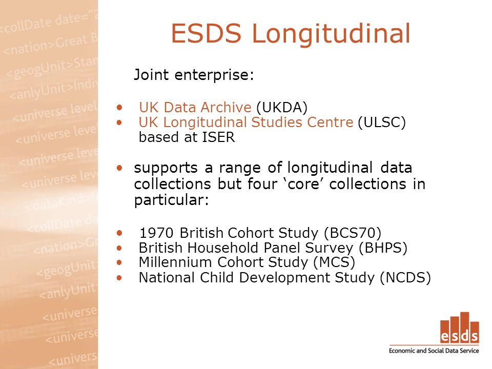 ESDS Longitudinal Joint enterprise: UK Data Archive (UKDA) UK Longitudinal Studies Centre (ULSC) based at ISER supports a range of longitudinal data collections but four core collections in particular: 1970 British Cohort Study (BCS70) British Household Panel Survey (BHPS) Millennium Cohort Study (MCS) National Child Development Study (NCDS)