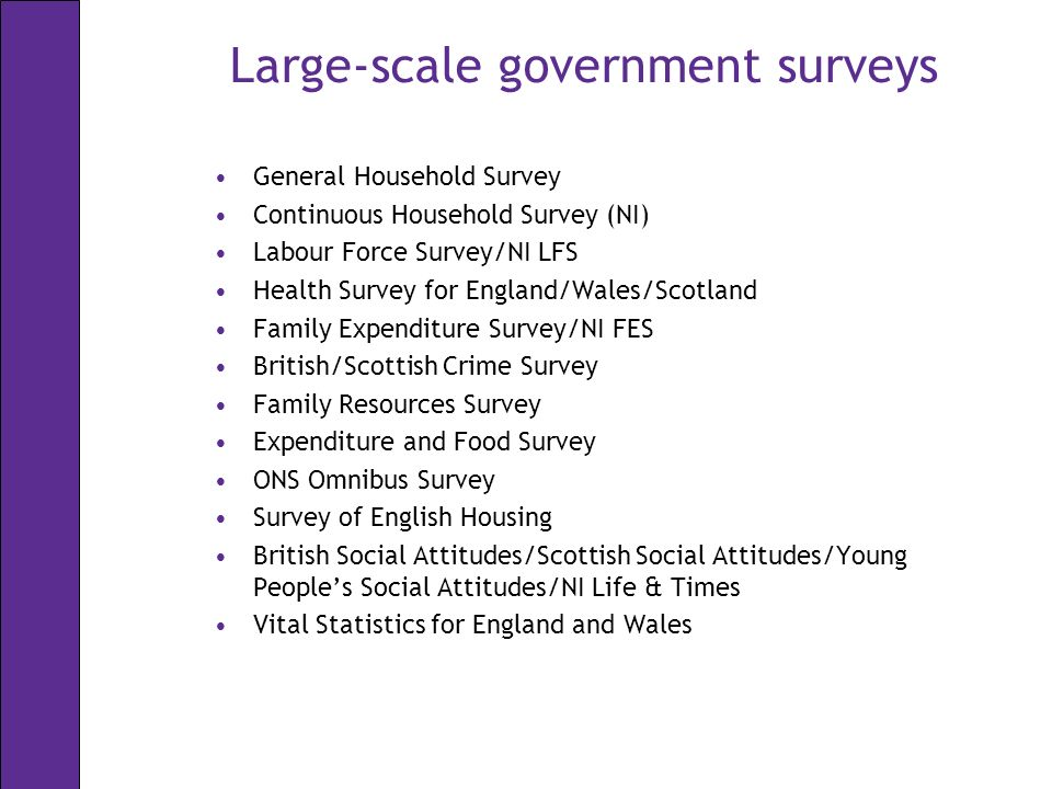 Large-scale government surveys General Household Survey Continuous Household Survey (NI) Labour Force Survey/NI LFS Health Survey for England/Wales/Scotland Family Expenditure Survey/NI FES British/Scottish Crime Survey Family Resources Survey Expenditure and Food Survey ONS Omnibus Survey Survey of English Housing British Social Attitudes/Scottish Social Attitudes/Young Peoples Social Attitudes/NI Life & Times Vital Statistics for England and Wales