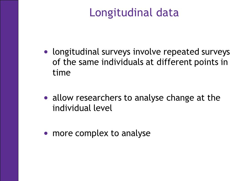 Longitudinal data main studies that are primarily UK Research Council: –British Household Panel Survey (BHPS) –British Birth Cohort studies: National Child Development Survey (NCDS) British Cohort Study 1970 (BCS70) Millennium Cohort Study (MCS) –English Longitudinal Study of Ageing (ELSA) –Families and Children Study (FACS) –Longitudinal Study of Young People in England (LSYPE) –possible forthcoming Medical Research Council population study datasets – 1946 Birth Cohort