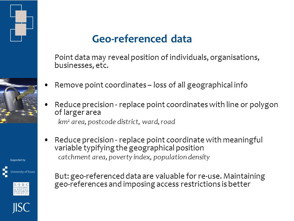 Geo-referenced data Point data may reveal position of individuals, organisations, businesses, etc.