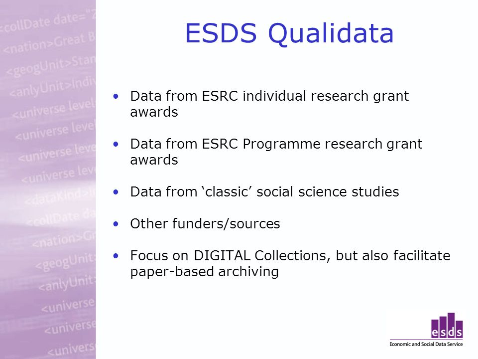 ESDS Qualidata Data from ESRC individual research grant awards Data from ESRC Programme research grant awards Data from classic social science studies Other funders/sources Focus on DIGITAL Collections, but also facilitate paper-based archiving