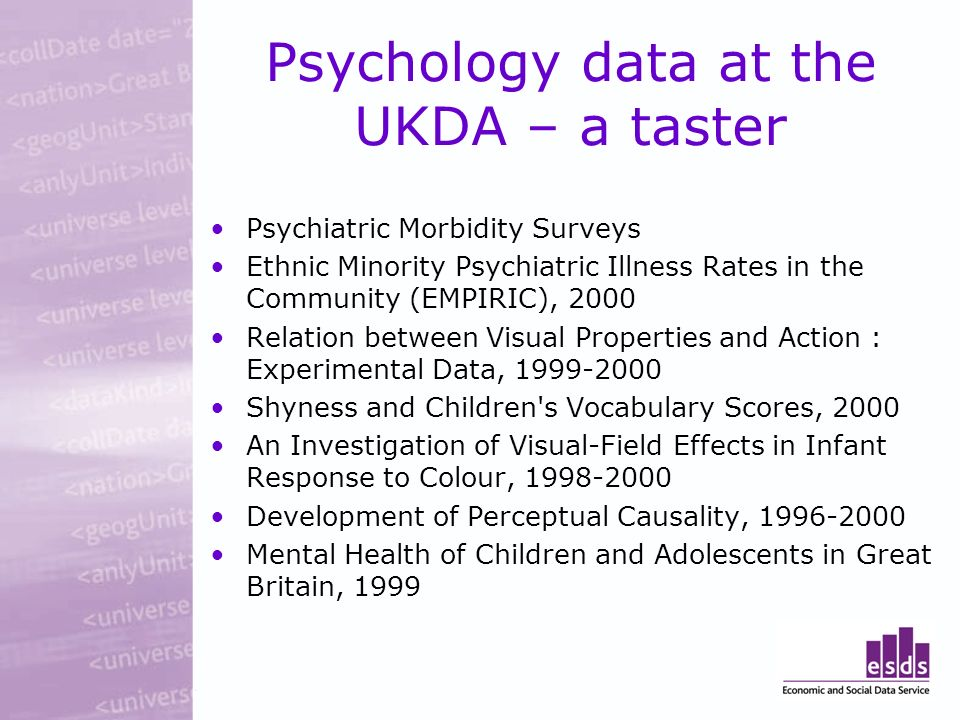 Psychology data at the UKDA – a taster Psychiatric Morbidity Surveys Ethnic Minority Psychiatric Illness Rates in the Community (EMPIRIC), 2000 Relation between Visual Properties and Action : Experimental Data, 1999-2000 Shyness and Children s Vocabulary Scores, 2000 An Investigation of Visual-Field Effects in Infant Response to Colour, 1998-2000 Development of Perceptual Causality, 1996-2000 Mental Health of Children and Adolescents in Great Britain, 1999