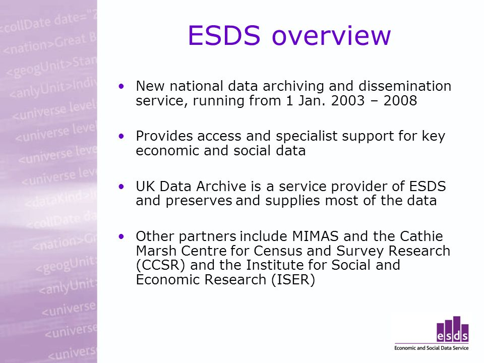 ESDS overview New national data archiving and dissemination service, running from 1 Jan.