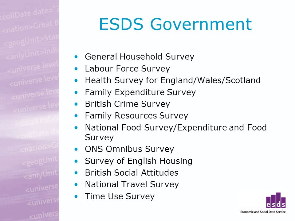ESDS Government General Household Survey Labour Force Survey Health Survey for England/Wales/Scotland Family Expenditure Survey British Crime Survey Family Resources Survey National Food Survey/Expenditure and Food Survey ONS Omnibus Survey Survey of English Housing British Social Attitudes National Travel Survey Time Use Survey