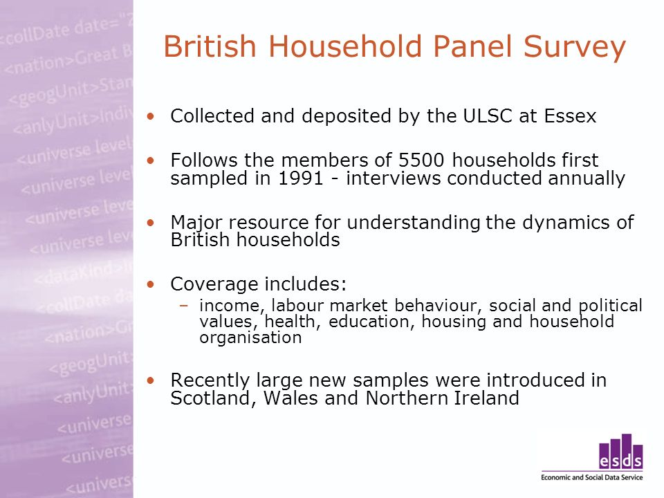 British Household Panel Survey Collected and deposited by the ULSC at Essex Follows the members of 5500 households first sampled in 1991 - interviews conducted annually Major resource for understanding the dynamics of British households Coverage includes: –income, labour market behaviour, social and political values, health, education, housing and household organisation Recently large new samples were introduced in Scotland, Wales and Northern Ireland