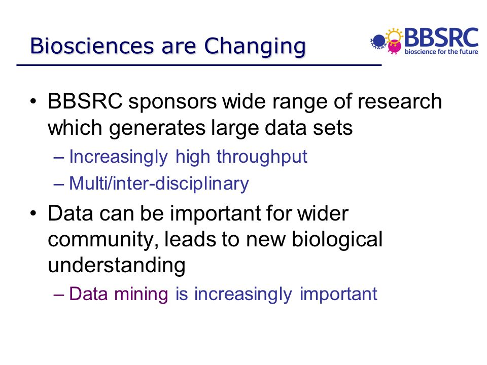 Biosciences are Changing BBSRC sponsors wide range of research which generates large data sets –Increasingly high throughput –Multi/inter-disciplinary Data can be important for wider community, leads to new biological understanding –Data mining is increasingly important