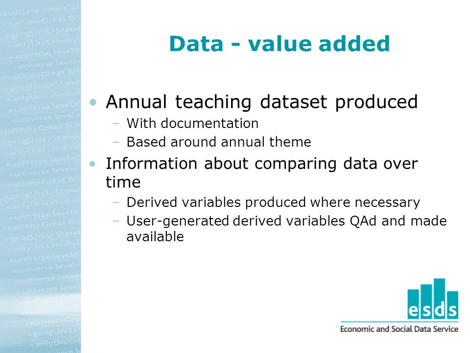 Data - value added Annual teaching dataset produced –With documentation –Based around annual theme Information about comparing data over time –Derived variables produced where necessary –User-generated derived variables QAd and made available