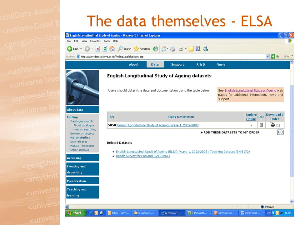 The data themselves - ELSA