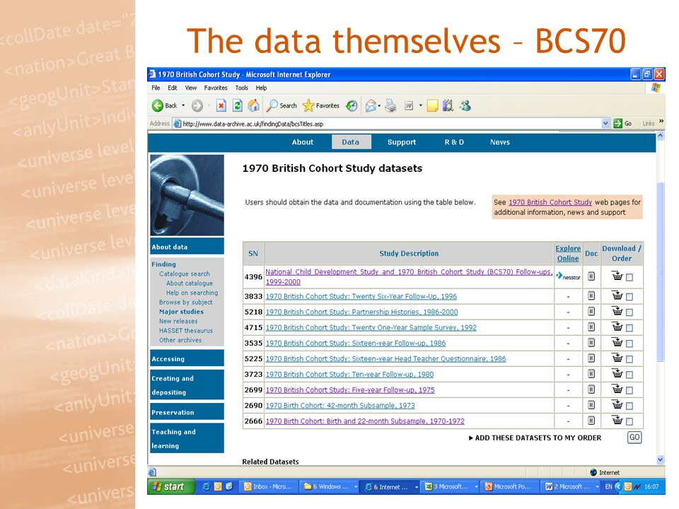 The data themselves – BCS70