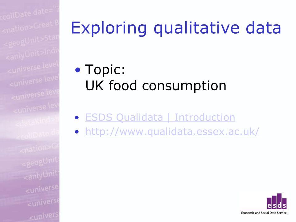 Exploring qualitative data Topic: UK food consumption ESDS Qualidata | Introduction http://www.qualidata.essex.ac.uk/