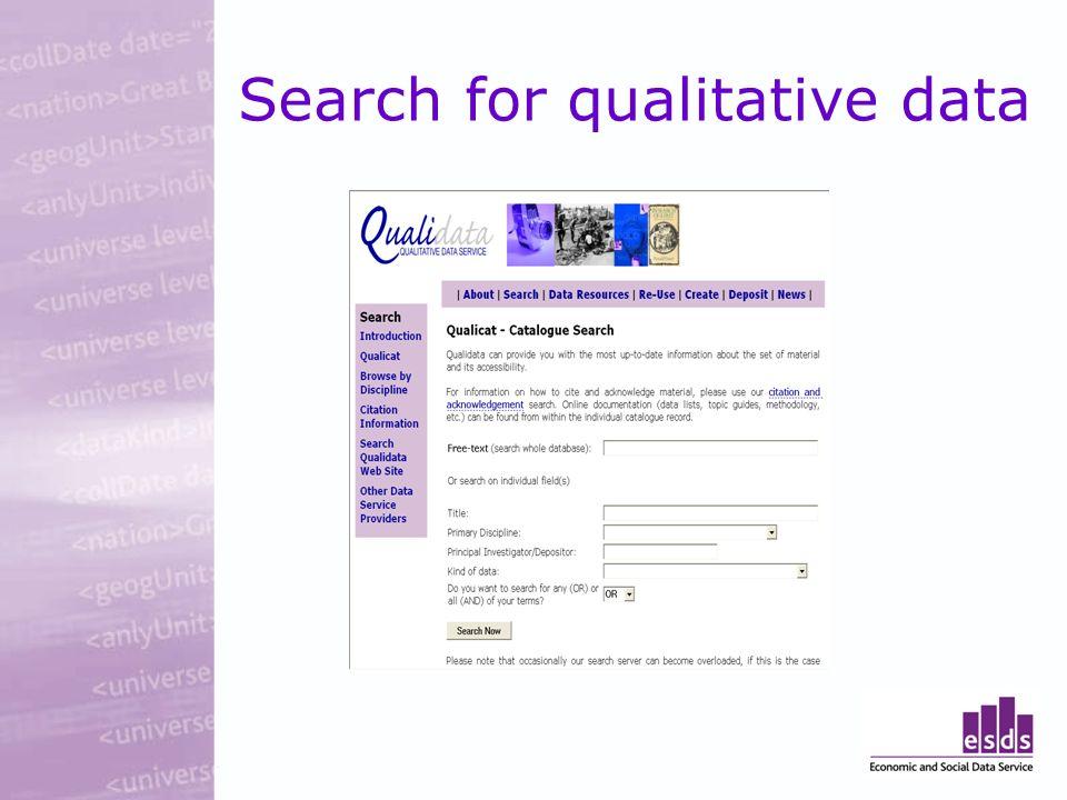 Search for qualitative data