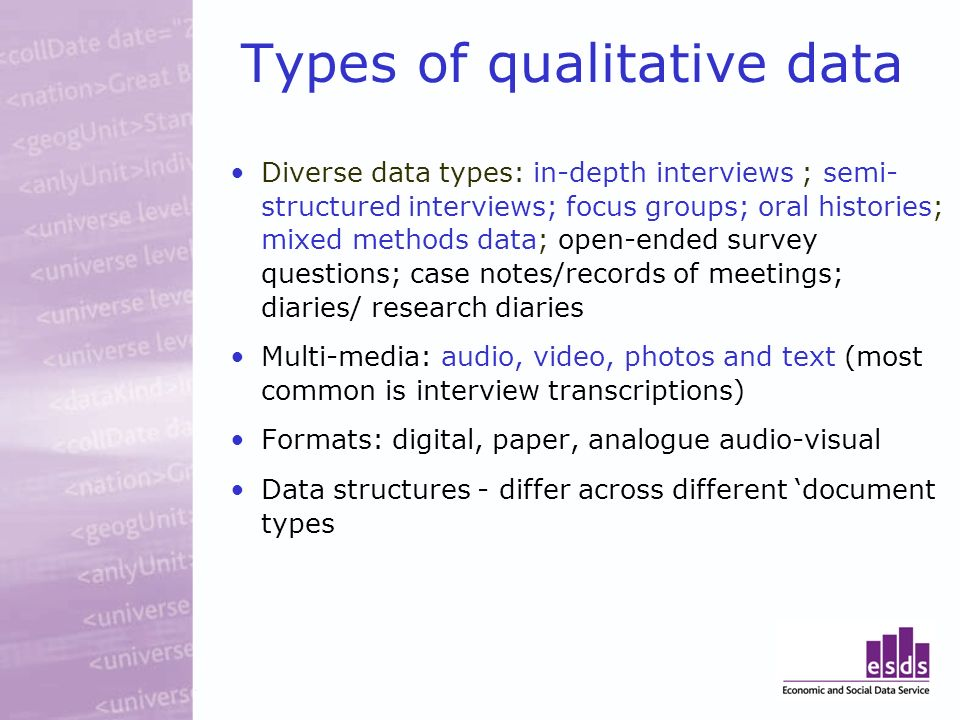 Types of qualitative data Diverse data types: in-depth interviews ; semi- structured interviews; focus groups; oral histories; mixed methods data; ope