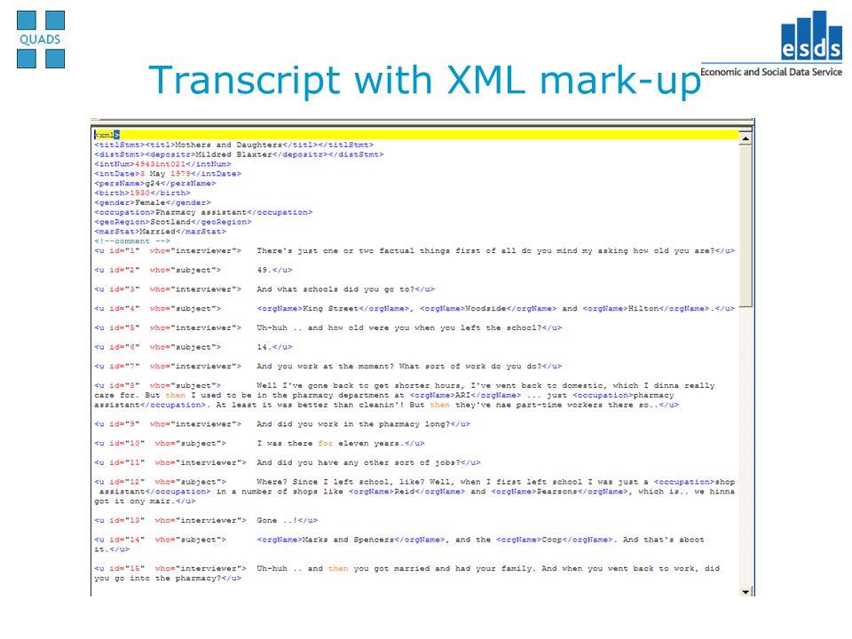 Transcript with XML mark-up