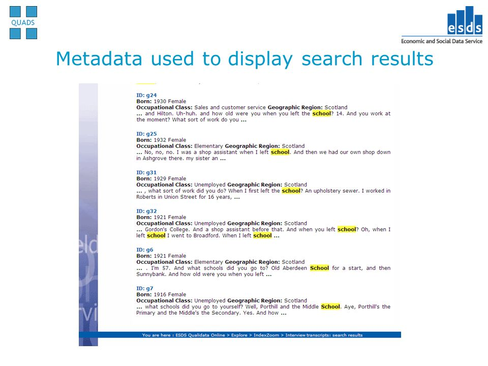 Metadata used to display search results